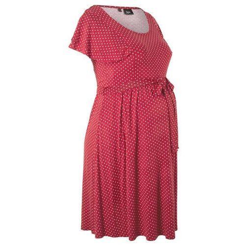 Bonprix Sukienka ciążowa czerwono-pomarańczowy w groszki