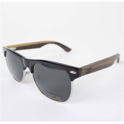 okulary słoneczne SNOWBITCH - Black frame Ebony wood arms with Smoke lens 4 (BLACK) rozmiar: OS