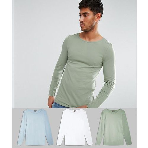 3 pack extreme muscle fit long sleeve t-shirt with boat neck save - multi, Asos, S-XXXL