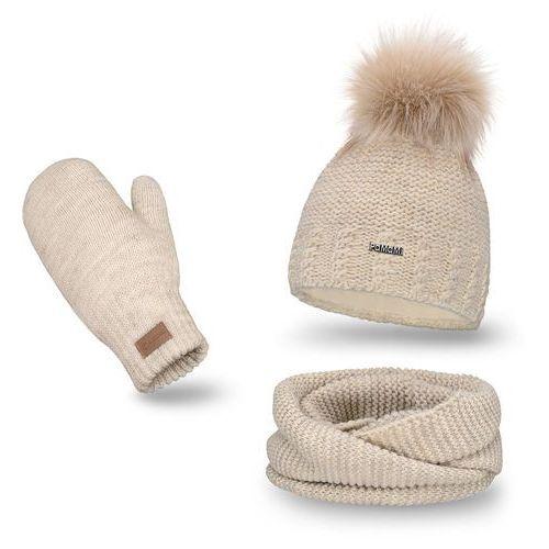 Komplet PaMaMi, czapka, komin i rękawiczki - Beżowy - Beżowy, kolor beżowy