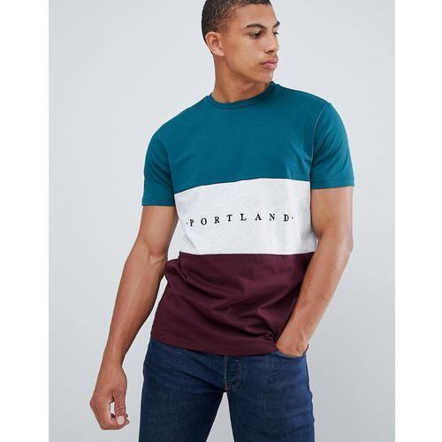 New Look colour block t-shirt with portland embroidery in green - Green, kolor zielony