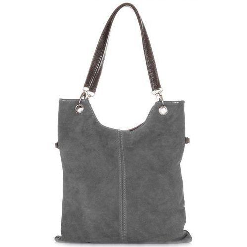 Uniwerslane torebki skórzane listonoszki xl zamsz naturalny szara (kolory) marki Genuine leather