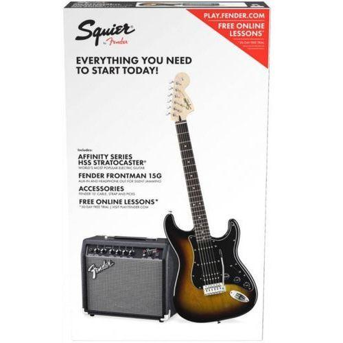 Fender affinity series stratocaster hss pack, laurel fingerboard, brown sunburst, 230v eur gitara elektryczna zestaw