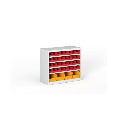 Regał z plastikowymi pojemnikami - 800x920x400 mm, 32x A, 4x C