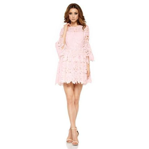 Różowa Wieczorowa Sukienka Koronkowa z Rozkloszowanym Rękawem