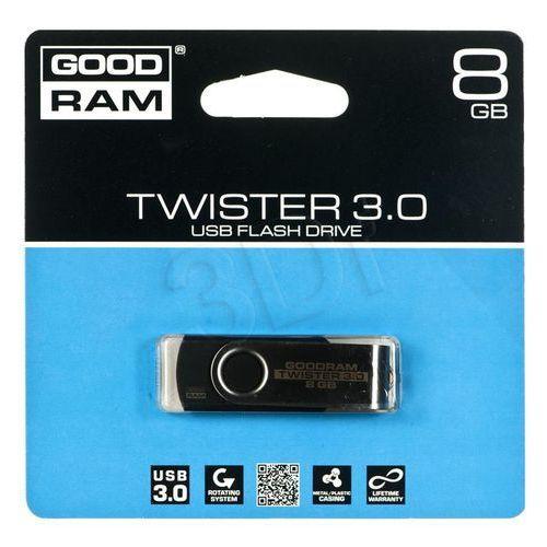 Pendrive GoodRam Twister 8GB USB 3.0 Czarny (PD8GH3GRTSKR9) Darmowy odbiór w 15 miastach!, kup u jednego z partnerów
