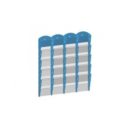 Plastikowy uchwyt ścienny na ulotki - 4x5 A5, niebieski