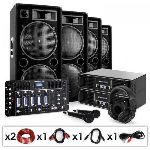 """Elektronik-star Zestaw pa dj """"bass first pro""""2 x amplituner 4x kolumny mikser 4000w"""