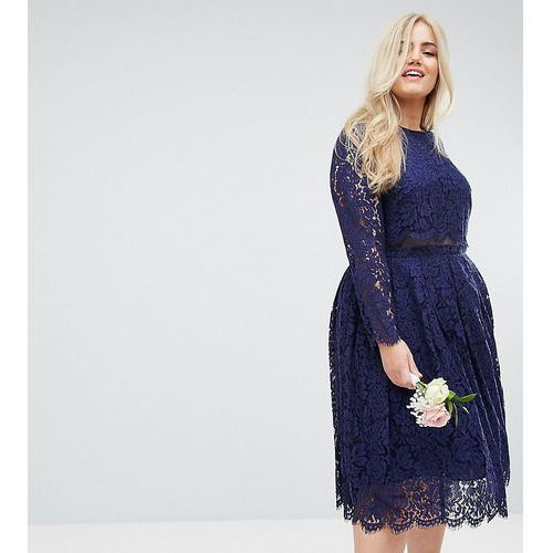 wedding lace long sleeve midi prom dress - navy, Asos curve