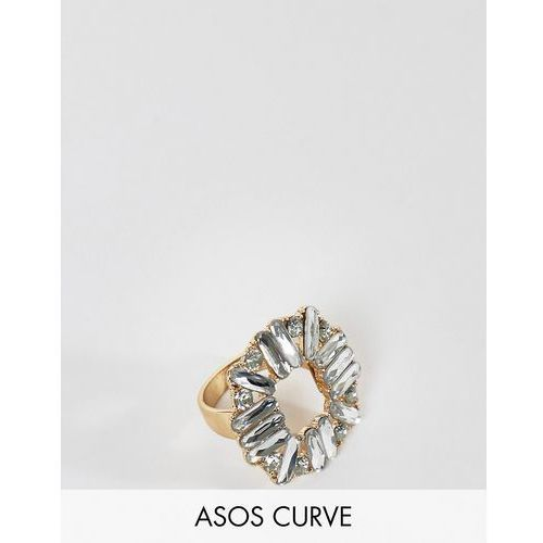 Asos curve Asos design curve exclusive ring with square jewel design in gold - gold