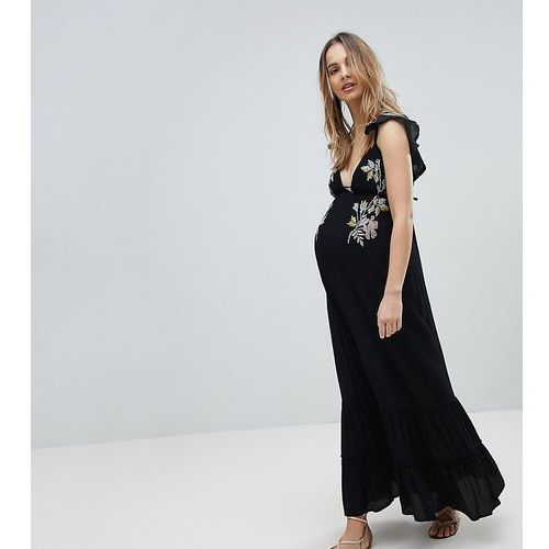 Asos maternity Asos design maternity floral cross stitch embroidered maxi beach dress with pompom trim - black