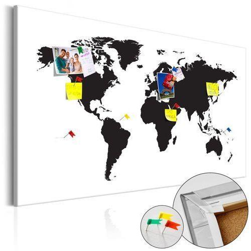 Artgeist Obraz na korku - mapa świata: czarno-biała elegancja [mapa korkowa]