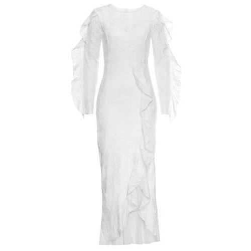 Sukienka z koronką bonprix kremowobiały, kolor beżowy