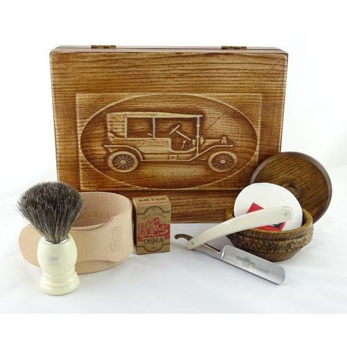 Margo Retro samochód ii 7-elementowy zestaw do golenia brzytwą w drewnianym pudełku