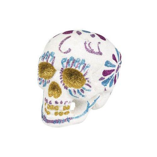 Boland Brokatowa czaszka biała na halloween - 16 cm - 1 szt. (8712026720580)
