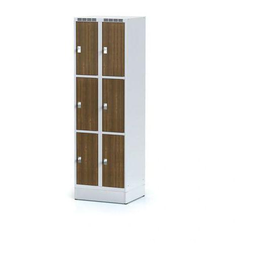 Alfa 3 Metalowa szafka ubraniowa 6 drzwi na cokole, drzwi lpw, orzech, zamek obrotowy