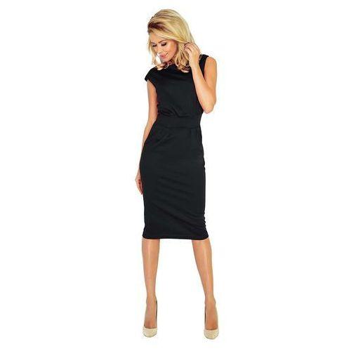 681b392088 Czarna Sukienka Elegancka Midi z Zaznaczoną Talią 111