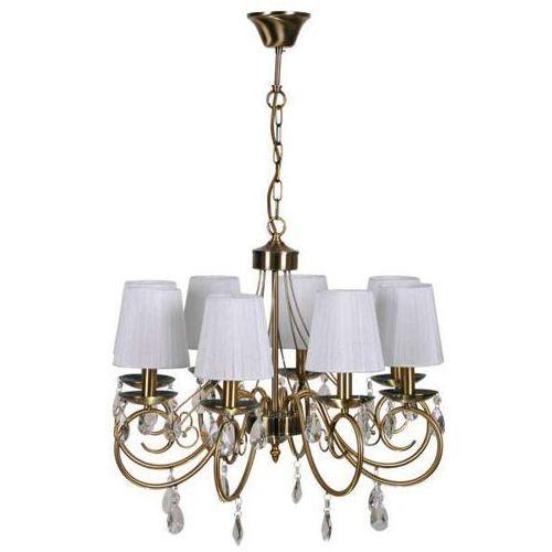 Żyrandol LAMPA wisząca DYNASTY 38-09111 Candellux klasyczna OPRAWA abażurowa RETRO patyna biała, 38-09111