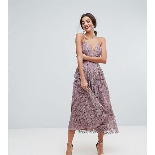 ASOS TALL Lace Cami Midi Prom Dress - Purple