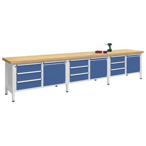 Anke werkbänke - anton kessel Stół warsztatowy, bardzo szeroki,3 drzwi, 9 szuflad z częściowym wysunięciem