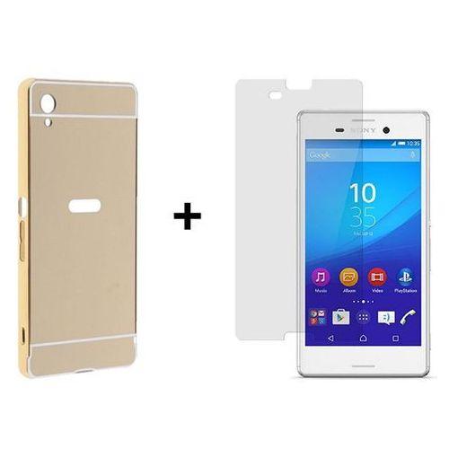 Zestaw obudowa bumper case zolti złota + szkło ochronne perfect glass sony xperia m4 aqua marki Mirror bumper / perfect glass