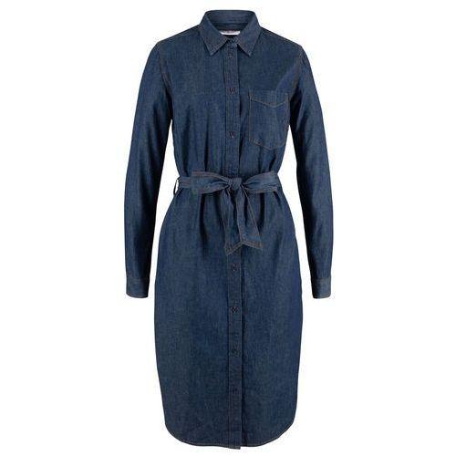 Sukienka dżinsowa z paskiem bonprix ciemnoniebieski, kolor niebieski