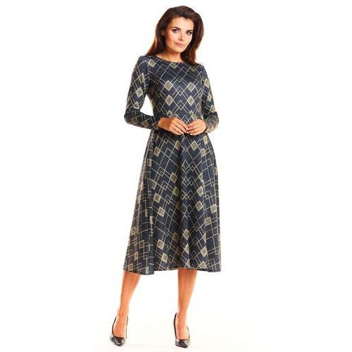 96614742f4cdb9 Elegancka wzorzysta sukienka midi w romby z szerokim dołem marki Infinite  you 149,90 zł Material: poliester 65% wiskoza 33% elastan 2%.