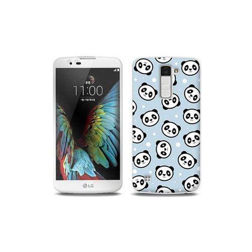 LG K10 - etui na telefon Full Body Slim Fantastic - panda na niebieskim tle, kolor niebieski