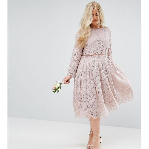 ASOS DESIGN Curve Bridesmaid lace long sleeve midi prom dress - Pink