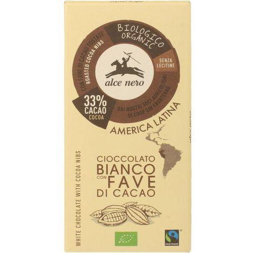 Alce nero Czekolada biała z kawałkami kakao bio 100g (8009004901254)