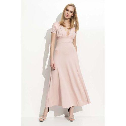 Różowa Długa Sukienka z Głębokim Dekoltem, DF02pi