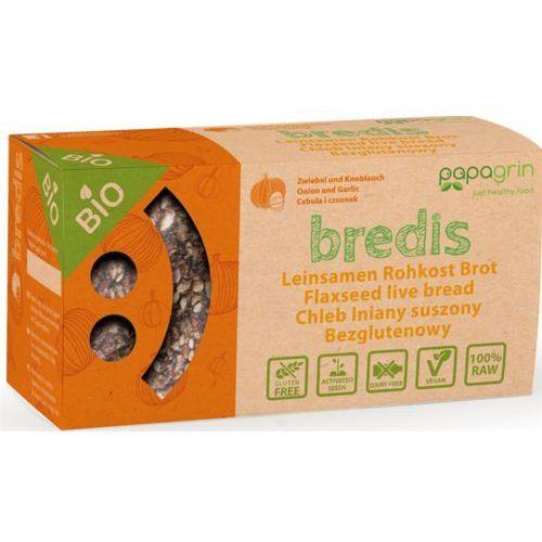 Papagrin (przekąski raw) Chleb lniany suszony z cebulą i czosnkiem bezglutenowy bio 70 g - papagrin (5903240250165)