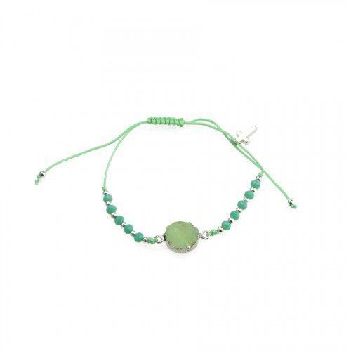 Dziesiątka różańca bransoletka religijna z zieloną cyrkonią, URBD016ZI