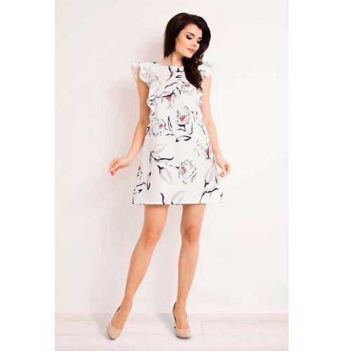 493d2f57d3 Ecru Casualowa Sukienka Mini w Kwiaty