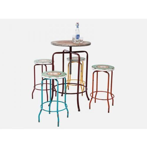 Stół Barowy z Hokerami Vintage Coffee (5/Set) Kare Design 78618 - produkt dostępny w sfmeble.pl