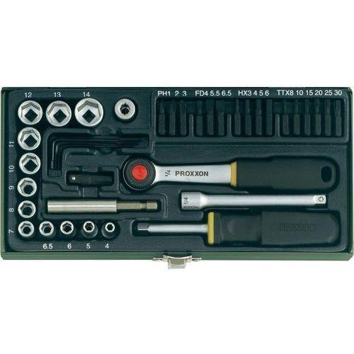 Grzechotka magnetyczna z zestawem nasadek i bitów Proxxon (1/4''), 38 szt., Proxxon Industrial z Conrad.pl