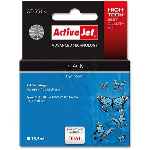 Tusz ActiveJet AE-551N (AE-551) Czarny do drukarki Epson - zamiennik Epson T0551, kolor Black