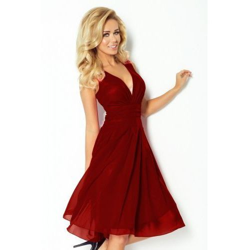 35-8 Szyfonowa sukienka - bordo, kolor czerwony