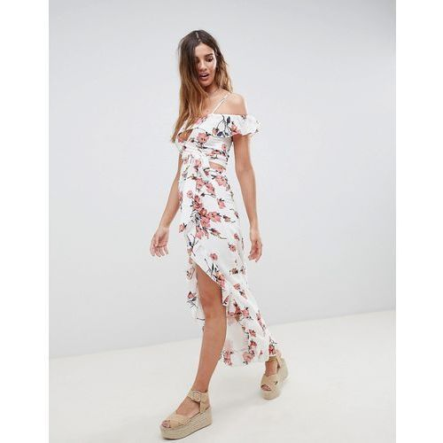 maxi skirt with frill hem and split front in romantic floral co-ord - white, Glamorous