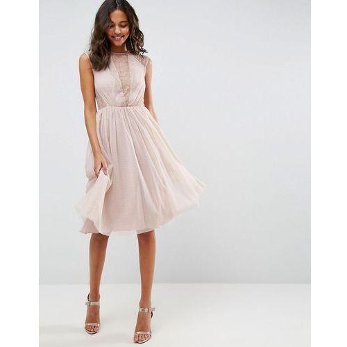 lace tulle cap sleeve midi dress - pink, Asos