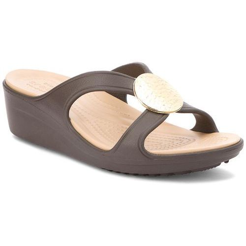 Crocs Klapki - sanrah hammered circle wedge w 205047 espresso/gold