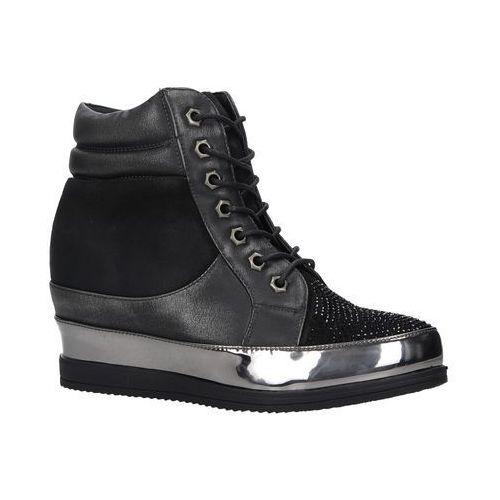Czarne sneakersy sznurowane z kryształkami 27209, Sergio leone, 36-41