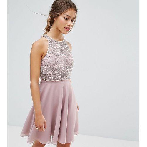crop top embellished skater dress - pink marki Asos petite