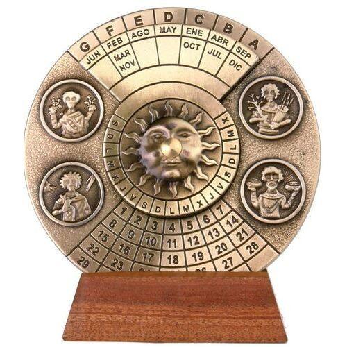 Kalendarz wieczysty - mosiądz H27 na podstawie drewnianej