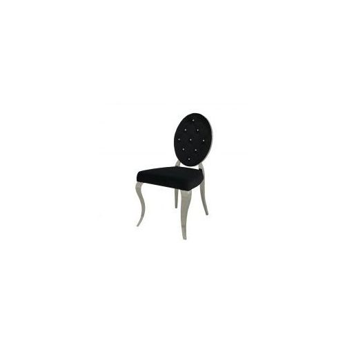 Krzesło glamour Leonardo Black - nowoczesne krzesła pikowane kryształkami (5908273396767)