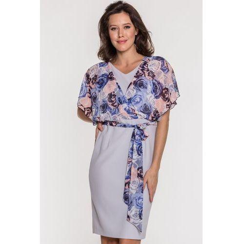 28f08d17a5 Szara sukienka z kwiatami - Avlo 430