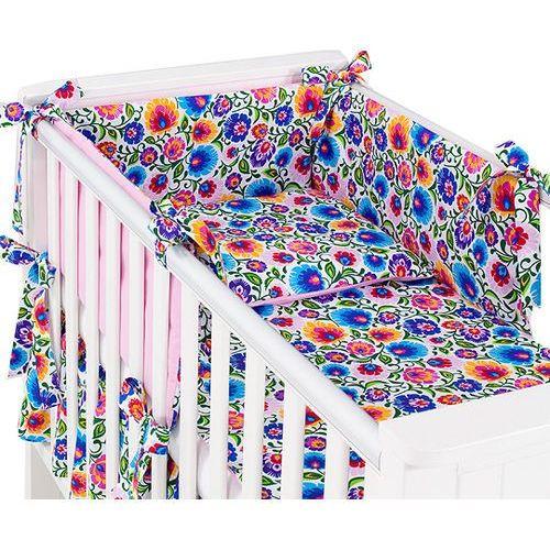 dwustronna rozbieralna pościel 3-el łowicz / róż do łóżeczka 70x140cm marki Mamo-tato