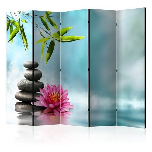 Artgeist Parawan 5-częściowy - lilia wodna i kamienie spa ii [room dividers] bogata chata