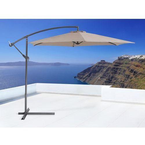 Parasol ogrodowy na wysiegniku - stojak metalowy – mokka - oferta [25c1dd46f35f53e4]