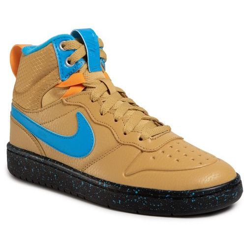 Nike Buty - court borough mid 2 boot (gs) bq5440 701 club gold/blue hero/kumquat